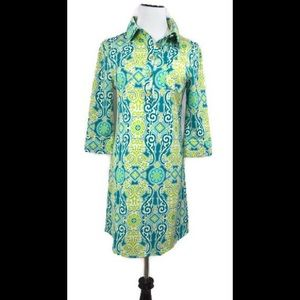 Tracy Negoshian Green & Yellow Floral Shirt Dress